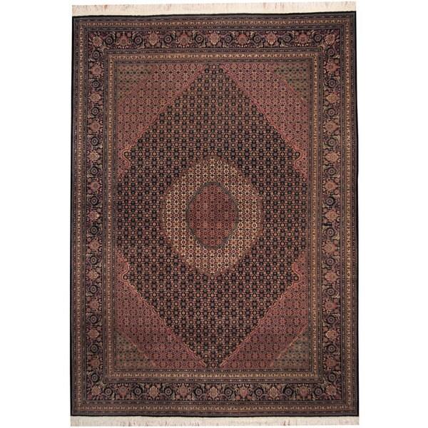 Herat Oriental Indo Hand-knotted Tabriz Navy/ Ivory Wool & Silk Rug - 8'3 x 11'7