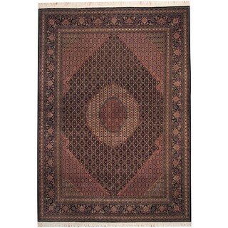 Herat Oriental Indo Hand-knotted Tabriz Navy/ Ivory Wool & Silk Rug (8'3 x 11'7)