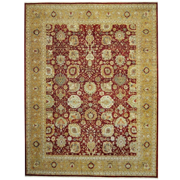 Herat Oriental Indo Hand-knotted Mahal Rust/ Gold Wool Rug (9' x 11'7) - 9' x 11'7
