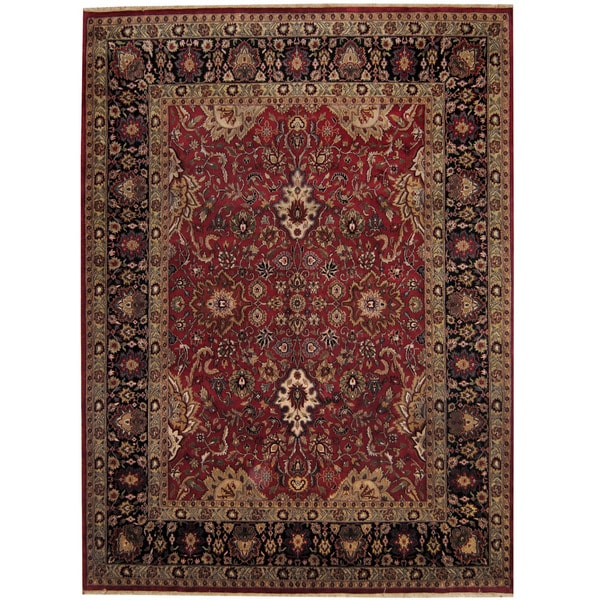 Herat Oriental Hand Tufted Wool Red Black Area Rug: Shop Handmade Herat Oriental Indo Sarouk Red/ Black Wool