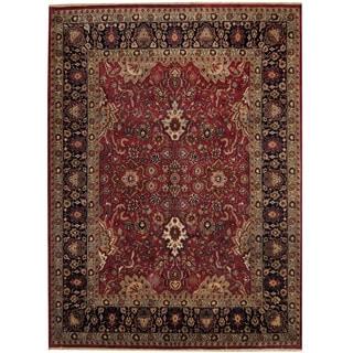 Herat Oriental Indo Hand-knotted Sarouk Red/ Black Wool Rug (8'10 x 12')
