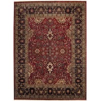 Handmade Herat Oriental Indo Sarouk Red/ Black Wool Rug (India) - 8'10 x 12'