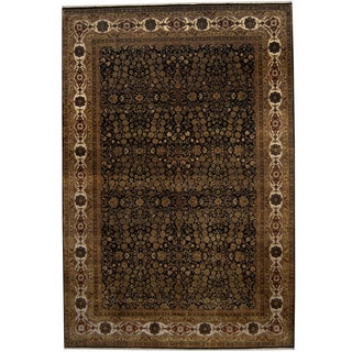 Herat Oriental Indo Hand-knotted Kashan Black/ Ivory Wool & Silk Rug (8' x 11'5)