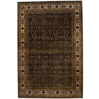 Handmade Herat Oriental Indo Kashan Black/ Ivory Wool & Silk Rug (India) - 8' x 11'5