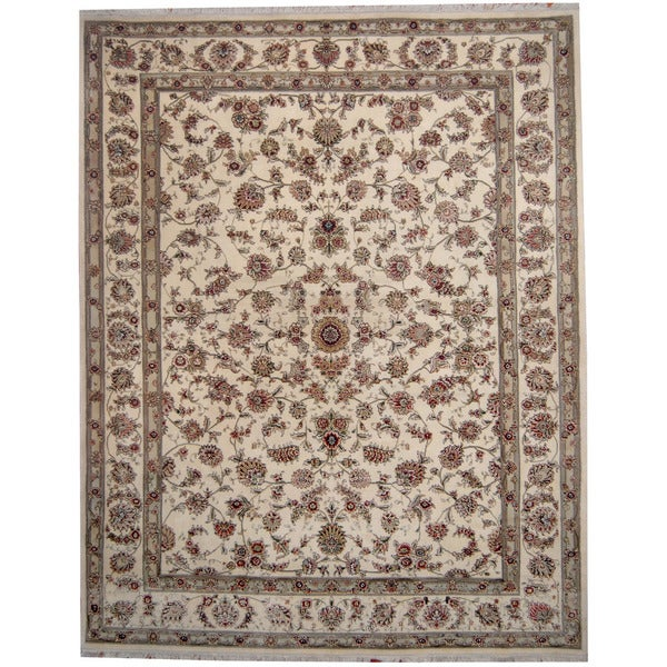 Shop Classical Kashan Medallion Hand Knotted Persian Wool: Shop Handmade Herat Oriental Indo Kashan Ivory/ Green Wool