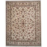 Herat Oriental Indo Hand-knotted Kashan Ivory/ Green Wool & Silk Rug (9' x 11'6) - 9' x 11'6