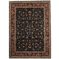 Handmade Herat Oriental Indo Kashan Black/ Red Wool & Silk Rug (India) - 8'5 x 11'7