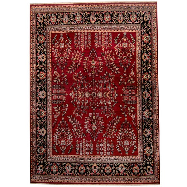Handmade Herat Oriental Indo Sarouk Red/ Black Wool Rug (India) - 8'9 x 12'3