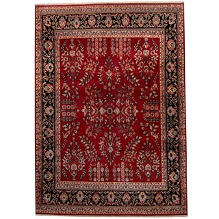 Herat Oriental Indo Hand-knotted Sarouk Red/ Black Wool Rug (8'9 x 12'3)