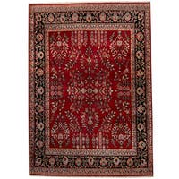 Handmade Herat Oriental Indo Sarouk Red/ Black Wool Rug (India) - 8'9 x 12'3