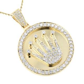 Luxurman 10k Gold 3ct TDW Diamond Crown Medallion Pendant