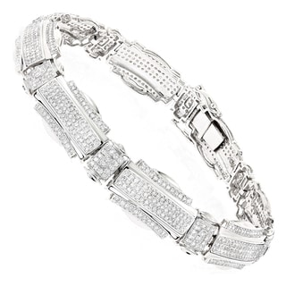 Luxurman Men's 10k White Gold 3 1/6ct TDW Diamond Bracelet ( H-I, SI1-SI2)