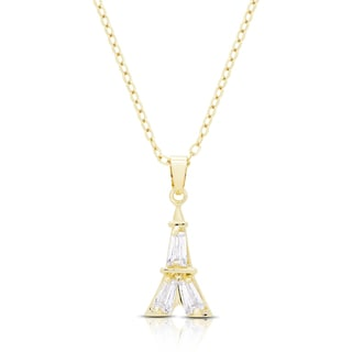 Dolce Giavonna Gold or Silvertone Cubic Zirconia Eiffel Tower Necklace