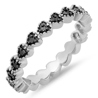 Sterling Silver 1/4ct TDW Round Black Diamond Heart Wedding Ring