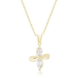 Dolce Giavonna Gold Or Silvertone Cubic Zirconia Flower Twist Necklace