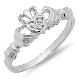 10k White Gold Diamond Accent Promise Irish Love Claddagh Heart Shape Ring (I-J ,I2-I3)