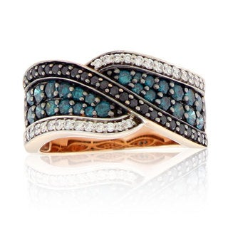Suzy Levian 14k Rose Gold Midnight, Blue and White Diamond Crossover Ring