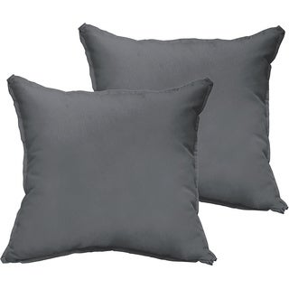 Sloane Charcoal Grey 18-inch Square Indoor/ Outdoor Flange Edge Pillow Set