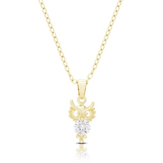 Dolce Giavonna Gold or Silvertone Cubic Zirconia Owl Necklace