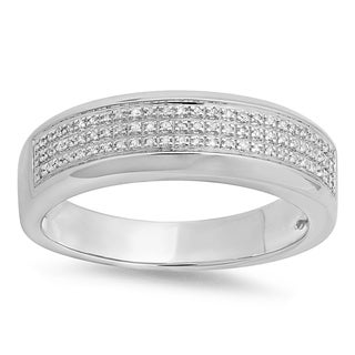 Sterling Silver 1/4ct Diamond Men's Micro Pave Band (I-J, I2-I3)