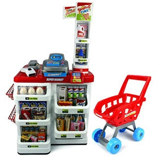 Velocity Toys Red Play House Super Market Children's Kid's Pretend Play Toy Food Play Set (Red)