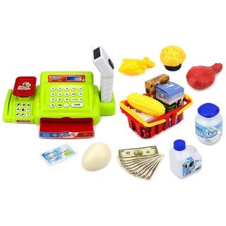 Velocity Toys Happy Little Shopper Pretend Play Battery Operated Toy Cash Register