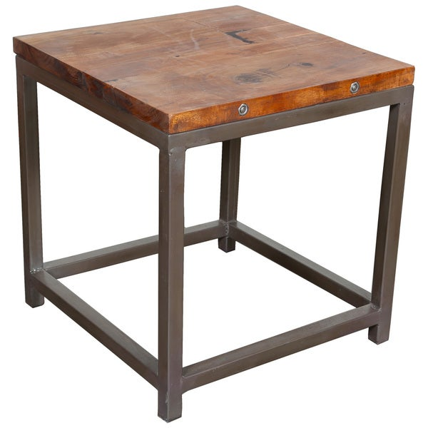 Wanderloot Industrial Reclaimed Wood, Grey Metal Frame End Table With  (India)