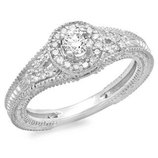 Elora 14k White Gold 1/2ct TDW Round Diamond Split Shank Bridal Vintage Halo Engagement Ring