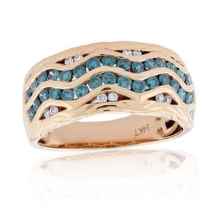 Suzy Levian 14k Rose gold, Blue and White Diamond Pave Wavy Ring