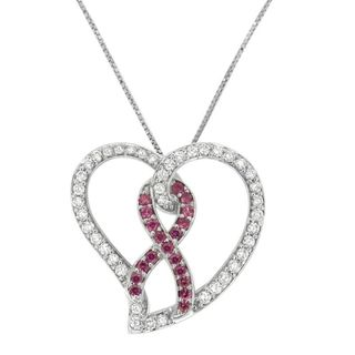 14k White Gold 3/4ct TDW Pink Diamond Ribbon Heart Pendant (H-I, I1-I2)