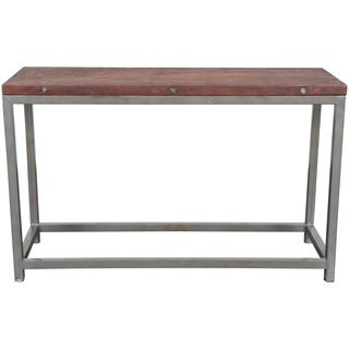 Wanderloot Industrial Reclaimed Wood Console Table with Grey Metal Frame (India)