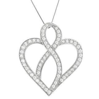 14k White Gold 2ct TDW Round Diamond Heart-shaped Pendant (G-H, VS2-SI1)
