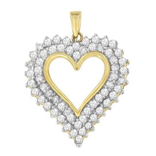 10k Yellow Gold 3ct TDW Round Princess Cut Diamond Heart-shaped Pendant (H-I, I2-I3)
