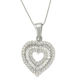 14k White Gold 2ct TDW Round and Baguette Diamond Heart Pendant (H-I, I1-I2)