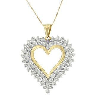 10k Yellow Gold 3ct TDW Round Diamond Heart-shaped Pendant (K-L, I2-I3)