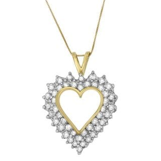 10k Yellow Gold 3ct TDW Round Princess Cut Diamond Heart-shaped Pendant (I-J, I1-I2)