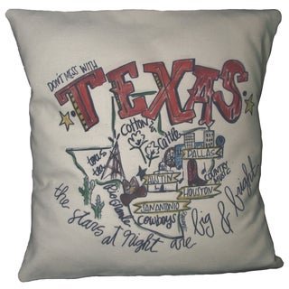 Southern Apparel and Serendipity Texas Road Map Down Filled Decorative Accent Pillow