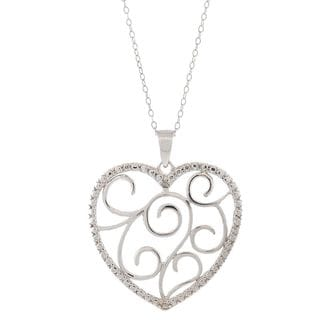 Pori Sterling Silver Diamond Accent Heart With Swirls Pendant Necklace