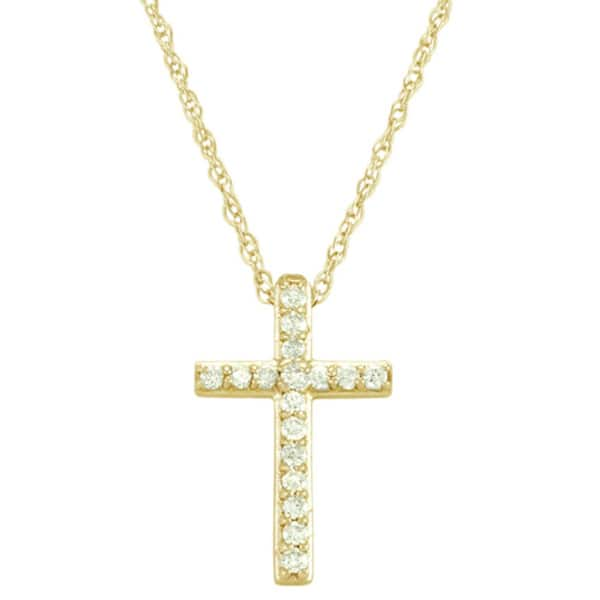 86226255045e85 Shop 14k White or Yellow Gold 1/8ct TDW Diamond Cross Necklace - On ...