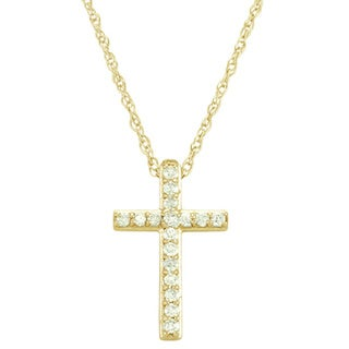 14k White or Yellow Gold 1/8ct TDW Diamond Cross Necklace