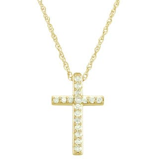 Diamond necklaces for less overstock 14k white or yellow gold 18ct tdw diamond cross necklace aloadofball Gallery