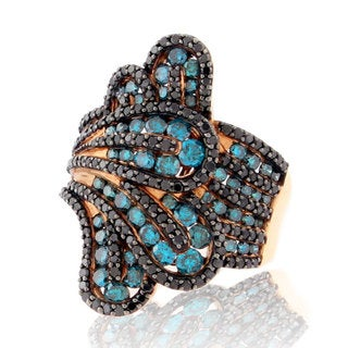 Suzy Levian 14k Rose Gold and Midnight Black and Blue Diamond Floral Ring