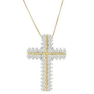 10k Yellow Gold 2ct TDW Round Diamond Cross-shaped Pendant (H-I, I2-I3)