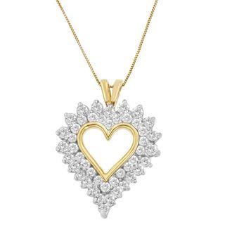 10k Yellow Gold 2ct TDW Round Diamond Heart-shaped Pendant (I-J, I2-I3)