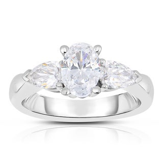 Eloquence 18k White Gold 1 3/4ct TWD Certified Three Stone Diamond Ring (D-G, SI1)