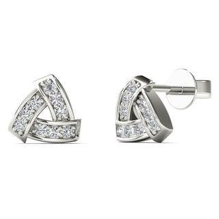 10k White Gold Diamond Accent Triangle Stud Earrings (H-I, I1-I2)