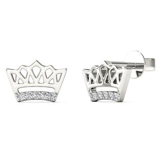 AALILLY 10k White Gold Diamond Accent Crown Stud Earrings