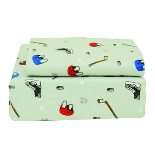 Hockey Print Flannel Sheet Set