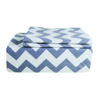 Chevron Printed Flannel Full-size Sheet Set