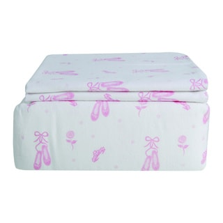 Ballerina Slipper Printed Flannel Full-size Sheet Set